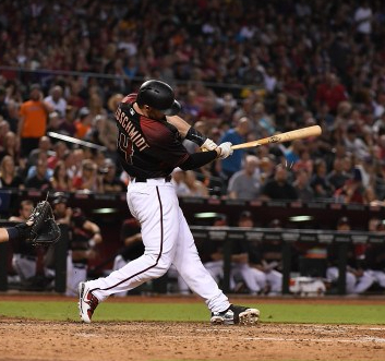 PHOENIX, AZ - SEPTEMBER 09: Paul Goldschmidt #44 of the Arizona Diamondbacks breaks his bat on an RBI single against the San Diego Padres during the fifth inning at Chase Field on September 9, 2017 in Phoenix, Arizona. (Photo by Norm Hall/Getty Images)